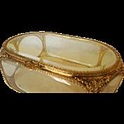"Lrg. 10"" Stylebuilt Jewelry Casket w/ Beveled Glass Gold Plate Trinket Box"