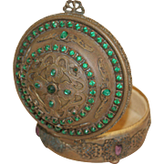 Vintage 1920's E & J B Empire Art Gold Jeweled Box Casket w/ Green & Purple Stones ormolu filigree