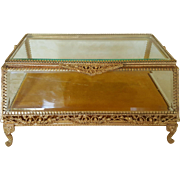Vintage Lrg. 10 x 7  Luxurious Gold Jewelry Casket or Display Vitrine Box