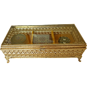 Lrg. Vintage Jewelry Casket w/ 3 sections Trinket Box Gold Plated