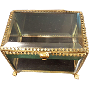 Superb Antique French Beveled Glass Casket w/ Gold gilt Frame