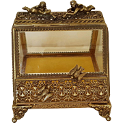 Vintage Beveled Glass Casket w/ Cherubs & Doves Slant Front Trinket Box Gold Ormolu