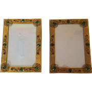 Antique Pair Jeweled Picture Frames Gold Ormolu w/ Glass