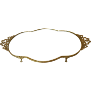 Colossol French Style Mirror Vanity Tray w/ Gold Ormolu Bows & Ribbons.