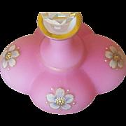 Vintage Jeweled Bohemian Pink Satin Glass Lobed Perfume Bottle