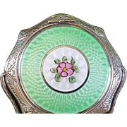Vintage Compact Green Guilloche Enamel Silver Tone Basket Absolutely Beautiful