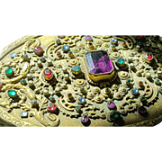 Huge Antique Austrian Jeweled Hand Mirror Extravagant