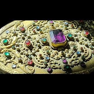 Huge Antique Austrian Jeweled Hand Mirror Extravagant