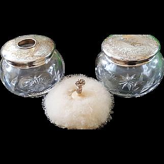 Antique Webster Sterling Silver Powder Jar w/ Swan's Down Powder Puff & Hair Receiver