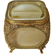 Splendid Globe Vintage Gold Plate Casket w/ beveled Glass Trinket Box