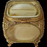 Splendid Globe Vintage Gold Plate Casket w/ beveled Glass Trinket Box