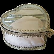 Vintage French  Heart Shaped Casket w/ Beveled Glass & Pink Cushion trinket box