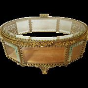 Vintage Gold Ormolu Casket Jewerly Box w/ beveled Glass 8 x 6 x 3.5