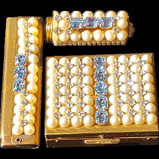 Vintage Jeweled Compact, Lipstick & Comb Holder 3 pc. Set