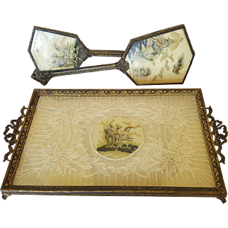 Vintage 1920's Asian/ French Style Vanity Tray, Hand Mirror & Brush Set Lace instert