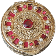 Antique French Red Jeweled Compact w/ beveled mirror & gold Ormolu Filigree