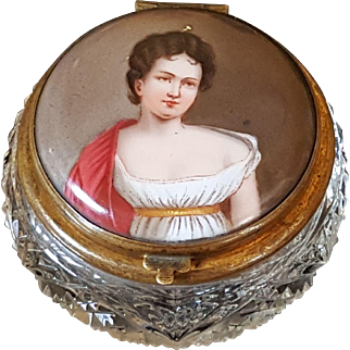 Refined Antique Cut Glass Powder Jar w/ Handpainted Portriat Lovely Lady & Beveled Glass