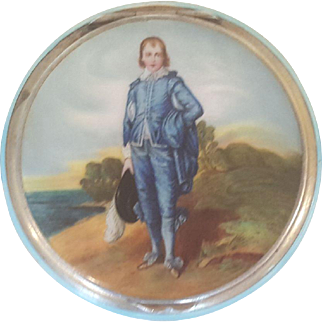 Antique Blue Boy Sterling Silver &  Blue Guilloche Compact Germany