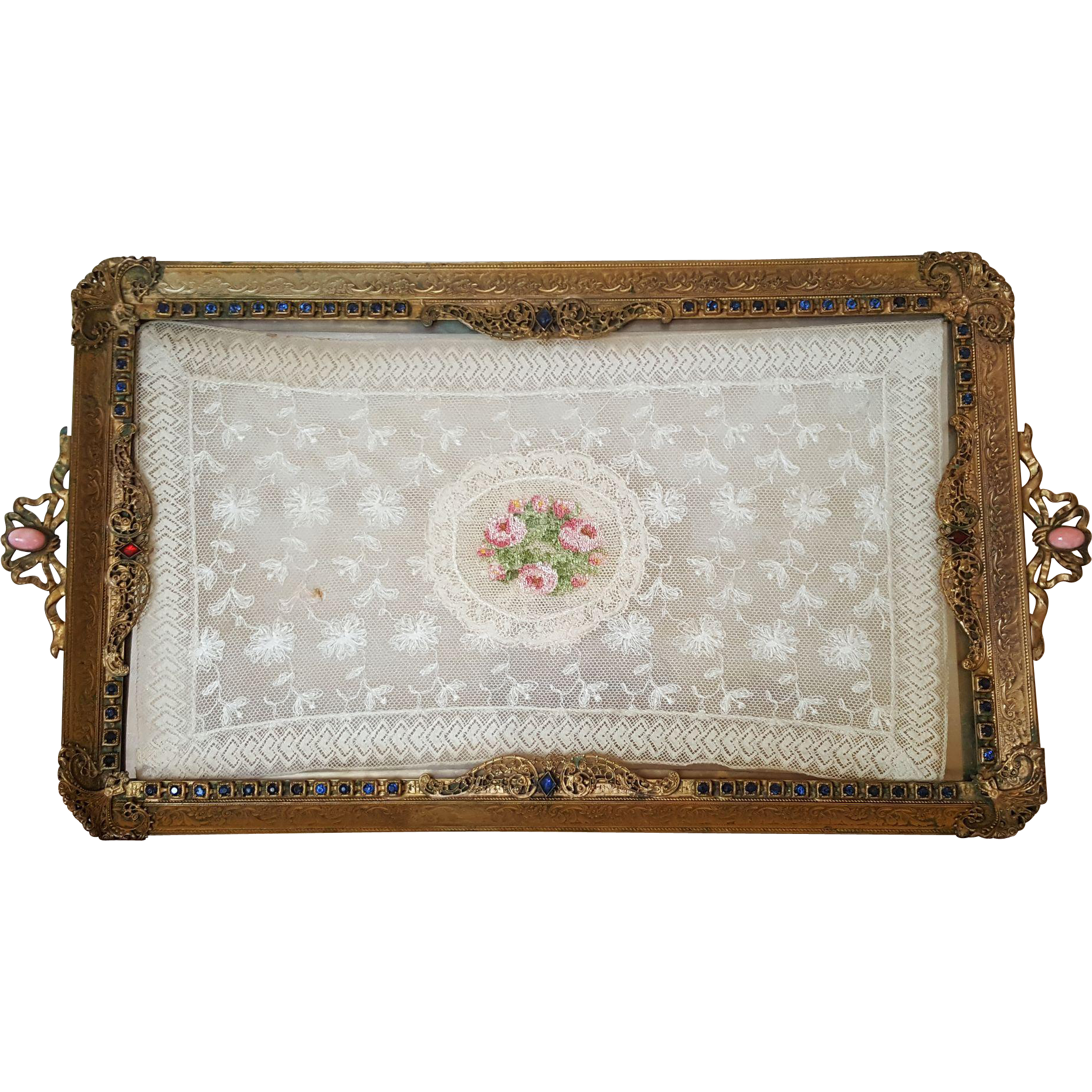 Antique vanity tray with lace insert - Antique Jeweled Gold Ormolu Vanity Tray W Lace Insert From
