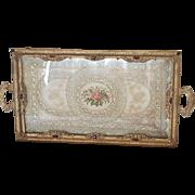 "Lrg. 1920's Jeweled Vanity Tray w/ Lace insert Silvercraft 18"" Long"