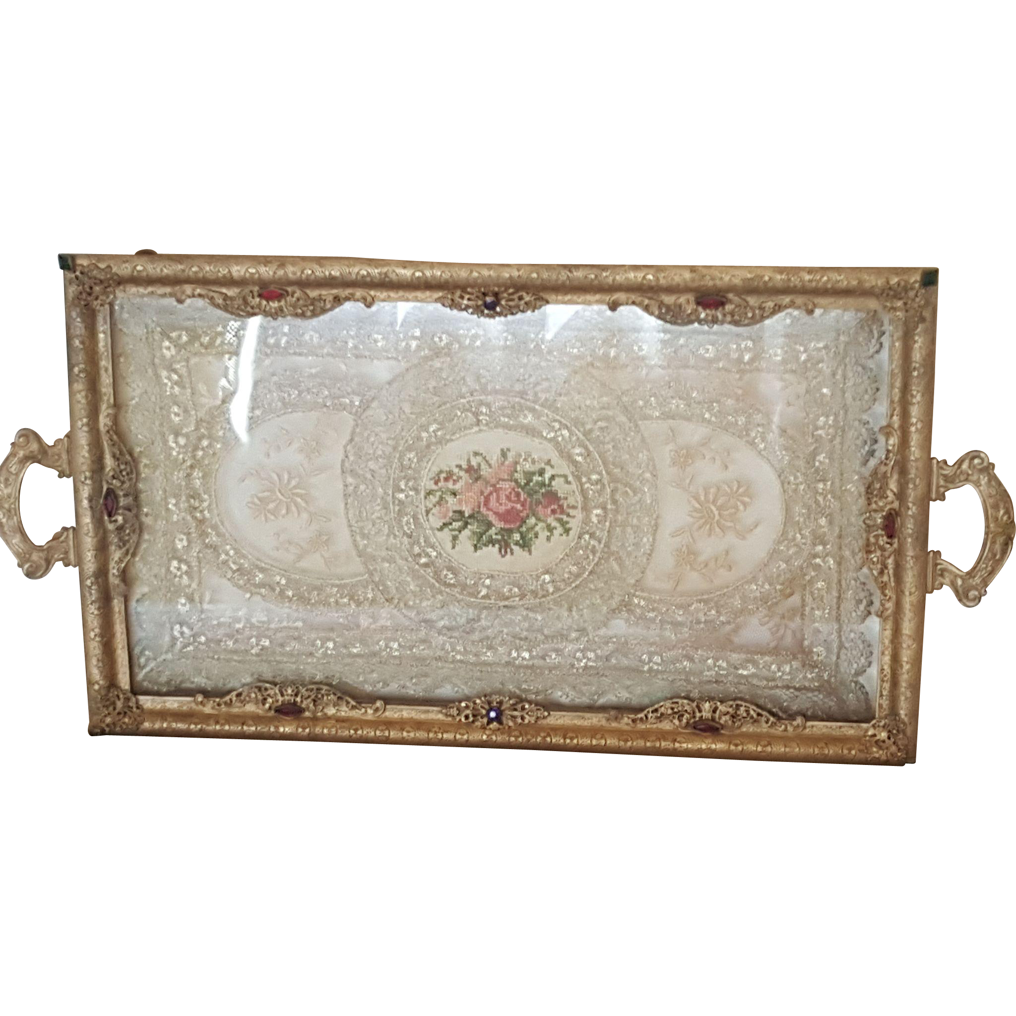 Antique vanity tray with lace insert - Lrg 1920 S Jeweled Vanity Tray W Lace Insert Silvercraft 18 Long