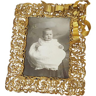 Remarkable Antique French Picture Frame w/ Lrg. Curvy Metal Bow & Filigree