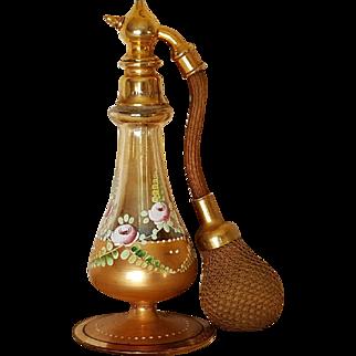 Vintage 1920's Marcel Frank Perfume Atomizer Bottle French w/ Bohemian Glass