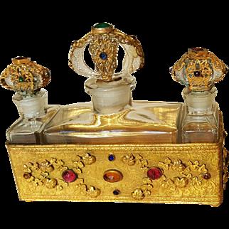 Splendid 1920's Jeweled Czech Triple Bottles w/ Gold Gilt Jeweled Caddy