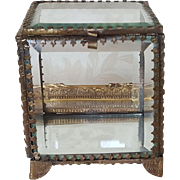 Lovely Antique French Beveled Glass Casket w/ Gold gilt Frame Trinket Box
