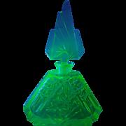 Magnificent / Lrg. Czech Green Cut Glass Perfume Bottle UV Tested Glows!