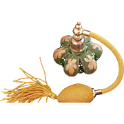 Vintage Bohemian Czech Lobed green glass Perfume Bottle atomizer gold handpainted