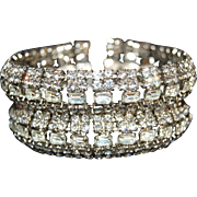 Vintage Rhinestone Bracelet * High Quality 1 1/2 inches wide No Dead Stones !