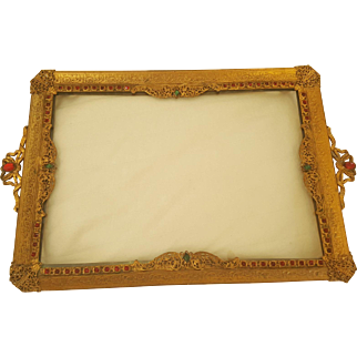 Antique Red Jeweled & Gold Ormolu Vanity Tray