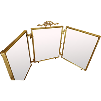 Mint Antique Tri-Folding Vanity Mirror w/ Beveled Glass / Gold Plated