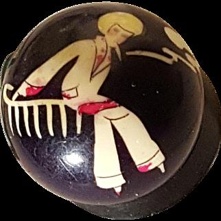"Rare Smoking Flapper 1920/30'S Miniature Concreta ""Habanita"" Grasse Paris, Solid Perfume Compact France"