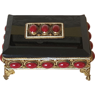 Superb Garnet Red Jeweled Austrian Box w/ Black Glass Heinrich Hoffman signed w/ Butterfly