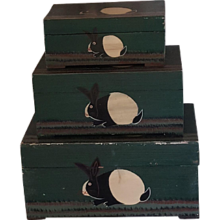 Bunny Rabbit Wood Boxes Folk Art Painted Primitive 3 total Green Nesting Boxes