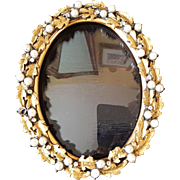 Small Elegant 1920's Jeweled Picture Frame Gold & Pearls, Rhinestones w/ Domed Glass for Miniature Portrait