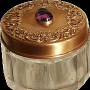 Antique AMETHYST Jeweled Gilted Sterling Vanity Jar