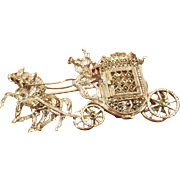 Vintage Horse and Carriage Marcasite Sterling Silver Brooch / Pin With Hidden Watch 17 Jewels