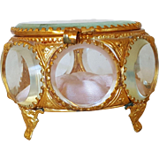 Antique French Beveled Glass & Gilt Casket w/Clean Pink Silk Cushion Trinket Box