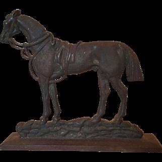 Fabulous Antique Horse Cast Iron Door Stop Equestrian