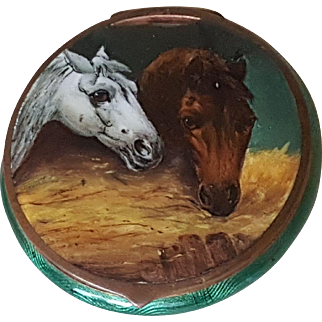 Vintage 1920's Horses Guilloche Compact Equistrian Green Enamel Handpainted Horse