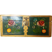 "Large Antique 'Coffre de Mariage' French Marriage Domed Top Trunk 15"" x 7"" Box 1800's Hand Painted w/ Key"