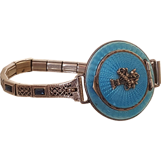 Ultra Rare Austria 1920's Combo Compact / Bracelet w/ Blue Guilloche, Sterling Silver & Blue Jeweled Filigree Bracelet Collector Worthy