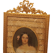 Antique Bronze Picture Frame w/ Miniature Portrait Painting of Young Beautiful Woman