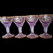 Vintage Set of Bohemian Stem Glasses Amethyst w/ Lavish Gold & Hand Painted Flowers Moser