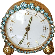 Stunning Jeweled Vintage Phinney-Walker Alarm Clock Blue Rhinestone Germany Works!