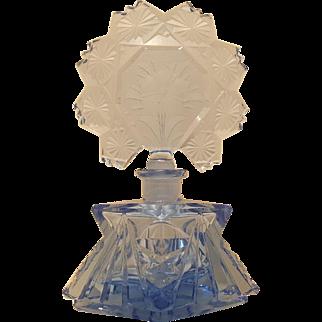 Antique Lrg. Blue Cut Glass Perfume Bottle w/ long dauber Signed Czechoslovakia
