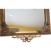 Vintage 1920's E & J B Empire Art Gold Jeweled Vanity Dresser Tray w/Mirror w/ gold ormolu gilt